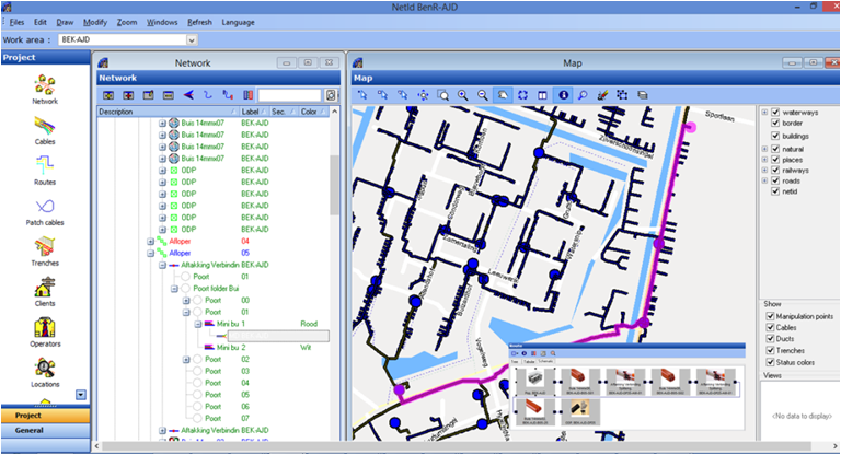 FTTH network registration and documentation in GIS