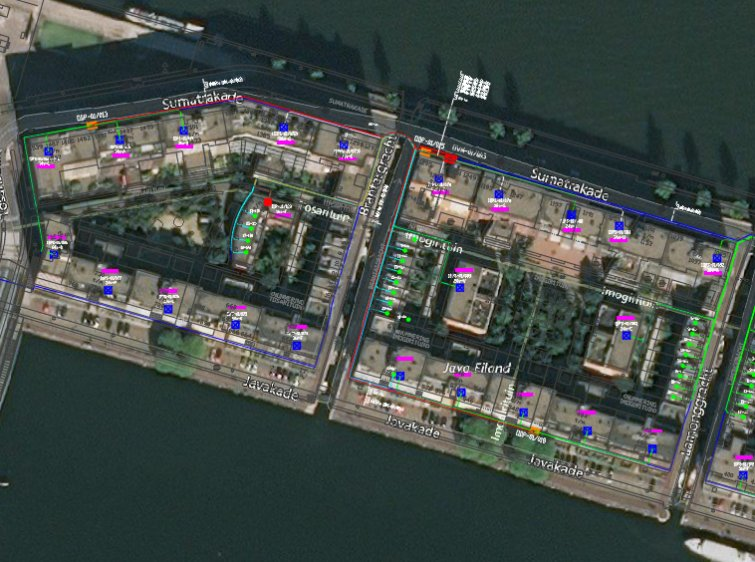 FTTH design with satellite view and cadastral data